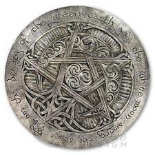 Large Moon Pentacle Plaque - Silver Finish - Dryad Design Pagan Wicca Pentagram