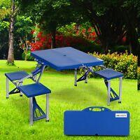 Pro.Portable Outdoor Yard Folding Camping Picnic Table >4 Seats w/Umbrella hole