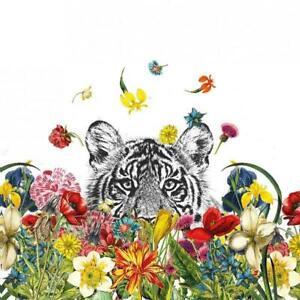 4 individual floral tiger decoupage napkins, scrapbooking, mixed media, crafting