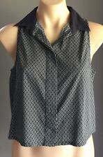 Like New ALL ABOUT EVE Navy & White Print Sleeveless Crop Shirt Size 10