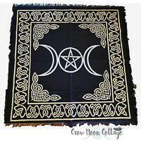 "TRIPLE MOON PENTAGRAM ALTAR CLOTH 24x24"" Wicca Pagan Witchcraft Black & Gold"