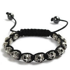 Ornate Skull Head Black Strand Adjustable Surfer Fashion Bracelet