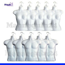 5 Female + 5 Male Torso Mannequin Set + 10 Hangers -Total 10 White Dress Forms