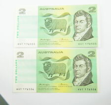 Australian Two Dollars Consecutive Pair Banknotes Knight/Wheeler $2 OCR-B Side