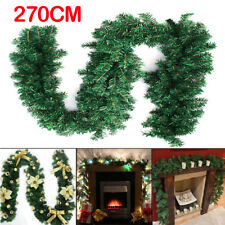 2.7m (9ft) Home Pine Christmas Garland Fireplace Wreath Xmas Decor 160 Heads New