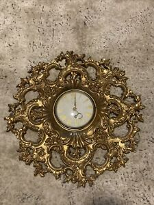"""Vintage Wall Clock 19"""" Ornate Gold Syroco Hollywood Regency French Distressed"""