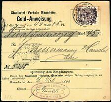 Dt. Privatpost/Stadtpost Mannheim seltene Geldanweisung (5756/29)