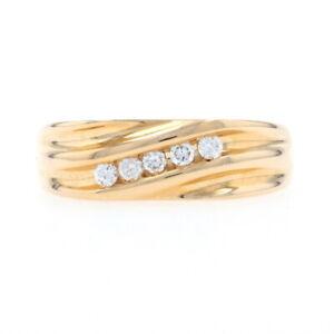 Yellow Gold Diamond Men's Five-Stone Ring 14k Round Brilliant.25ctw Wedding Band