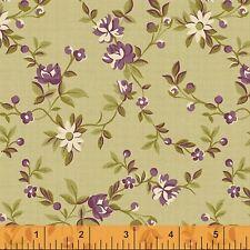 Peyton Floral Purple Green Fabric by Yard Cotton Nancy Gere Romantic flowers