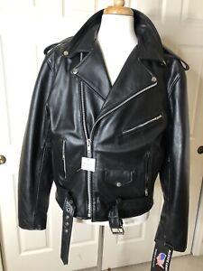 Mens New Black Leather Classic Biker Motorcycle Jacket Sz 46