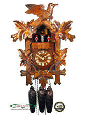 Black Forest Cuckoo Clock 8-Day Music Leaves & Bird NEW