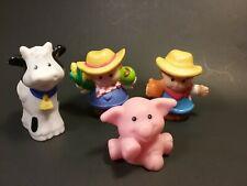 Little People Mattel Boy Girl Farmers Pig Cow 4 Pieces