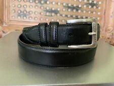 Greg Norman Black Grain Cowhide Leather Belt Silver Tone Buckle Size 36