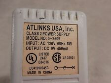 Atlinks Usa Power Supply/Adapter 5-2509 9V 450mA