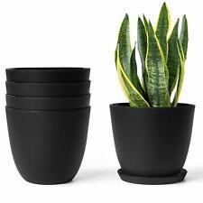 Plastic Planters with Saucers,Indoor Set of 5 Flower Plant Pots Modern Decor Pot