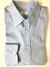 BRIONI $750 Blue Cotton Herringbone Men's Dress Shirt Size EU 43 / US 17