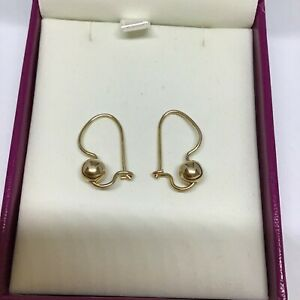 Quality Solid 9ct Yellow Gold Euro Ball EARRINGS 6mm 1.7grams