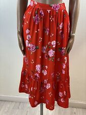 H&M Red Roses Floral Print Frilly Hem Skirt Size 6 Peasant Gypsy