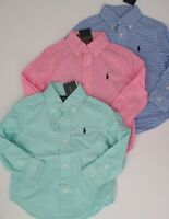 NWT Ralph Lauren Boys Long Sleeved Gingham Cotton Shirt 2/2t 3/3t 4/4t NEW $40