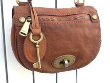 Fossil Emilia Tan Sienna Leather Small Flap CrossBody/Shoulder Bag - Fossil Key