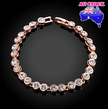 18K Rose Gold Filled Tennis Bracelet with Clear Czech Drill Crystal