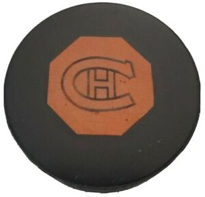 VINTAGE ORIGINAL 6 NHL MONTREAL CANADIENS ART ROSS CONVERSE GAME PUCK 🇺🇸 hole!