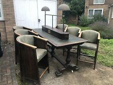 More details for antique vintage pub restaurant theatre library desk table and chairs green