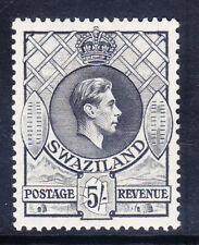 More details for swaziland george vi 1938 sg37 5/- perf 131/2 x 13 - mounted mint. catalogue £70