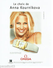PUBLICITE ADVERTISING 026  2001  Omega montre Constellation carrée A.Kournikova