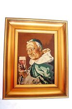 Old Cross Stitch  Vintage Unique Picture Man Cave Monk Drinking Beer Wood Frame