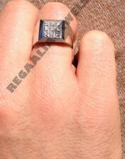 Mens Jewelry 14K White Gold Over Diamond Engagement Wedding Band Ring 1.30 Carat