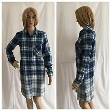 ZARA BLUE/WHITE SOFT BRUSHED COTTON CHECKED SHIRT DRESS WITH SIDE POCKETS SIZE S