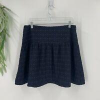 Ann Taylor Womens Jacquard Mini Skirt Size 10P Petites Navy BLue Textured Casual