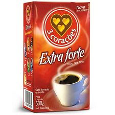 06 Bags of Traditional Brazilian Ground Coffee 3 Coracoes 500g, super intense
