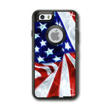 Skin Decal for Otterbox Defender iPhone 6 Case / Electric American Flag U.S.A.