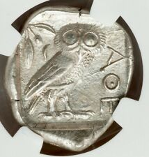 Ancient Athens Greece Athena Owl Tetradrachm Silver Coin 440-404 BC NGC AU 5/5