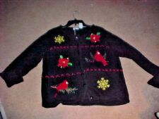 WOMENS UGLY CHRISTMAS SWEATER,  SZ L PETIET, CARDIGAN, BLACK & RED