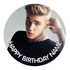 Justin Bieber Personalised Edible Birthday Party Cake Decoration Topper Image