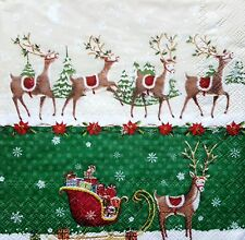 4 Single Lunch Paper Napkins for Decoupage Craft Christmas Voyage Napkin / Art