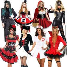 Ladies Halloween Costume Nurse Skeleton Witch Vampire Devil Pirate Fancy Dress