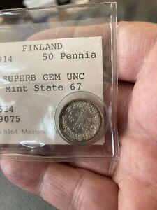 1914 - Finland 50 Pennia SILVER Coin SUPERB GEM