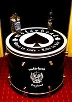 Upcycled *MOTORHEAD* Bass Drum Coffee/Side Table with storage inside #