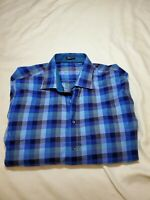 Bugatchi Uomo Blue Plaid Dress Shirt classic Fit Mens Large