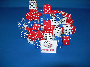 NEW 9 ASSORTED OPAQUE DICE 16mm RED, WHITE AND BLUE, 3 COLORS 3 OF EACH COLOR