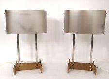 Paire lampes design piètement métal plexiglas vintage 1970 XXème siècle