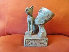 Antique Stone Statue Of Egyptian Ancient Queen NEFERTITI & Mythical Cat Bastet