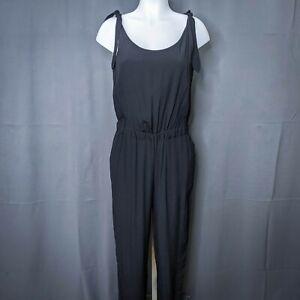 Madewell Womens Jumpsuit Pants Small Black Shoulder Tie Crepe Full Length