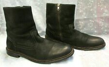 Men's ASTON GREY Collection Black Leather Zip Boots Size 10
