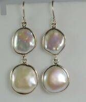 Freshwater Coin Pearl 925 Solid Sterling Silver Handmade Dangle Drop Earrings