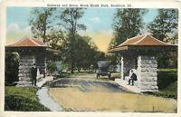 Rockford Illinois~Black Hawk Park~Gateway & Drive~Men Loitering~1917 Postcard